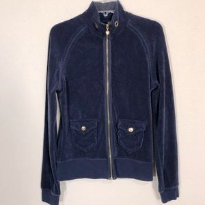 Twisted Heart Navy w Gold Terrycloth Zip Cardigan